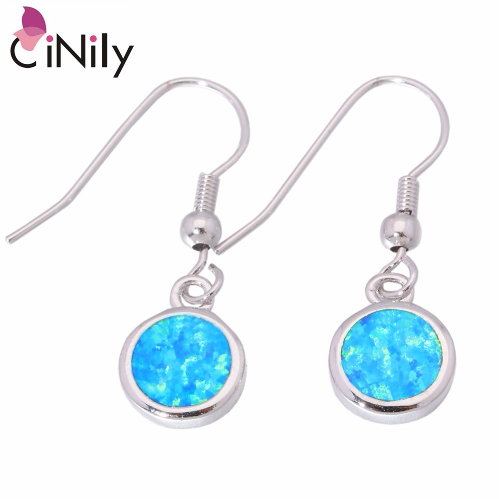CiNily Created Orange Pink White Blue Opal Silver Plated Wholesale Hot Sell for Women Jewelry Drop Earrings 1 1/4 OH2264-67