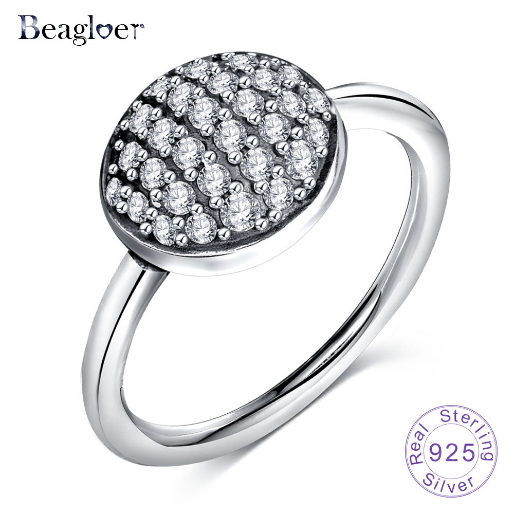 Beagloer 925 Sterling Silver Radiant Elegance Rings With Sparkling Clear CZ Ring Engagement Jewelry for Women PSRI0081-B